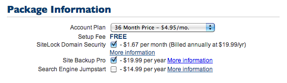 Package Information Bluehost