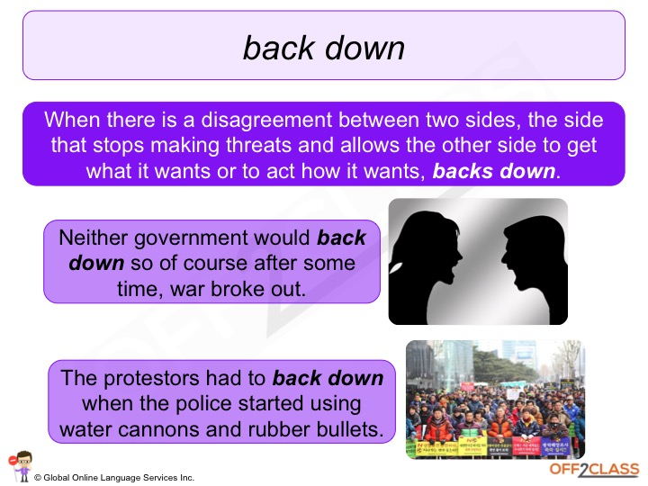 Back Down Phrasal Verb