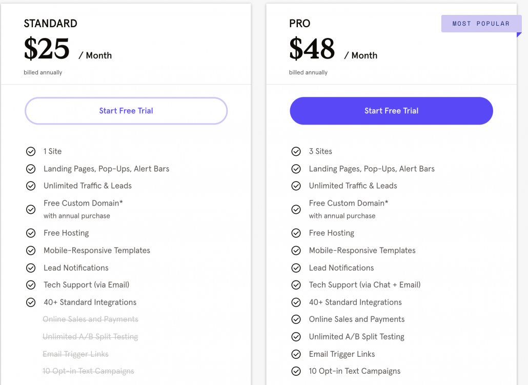 Pricing for LeadPages Standard and Pro
